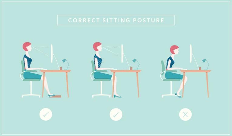 dessin de profil femme assise au bureau ordinateur pour donner exemple de correction posturale en position assise pour douleurs dorsales